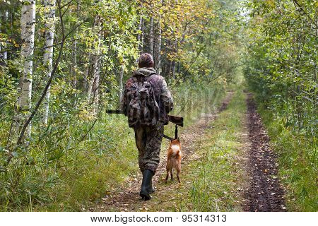 Hunter With Dog Walking On The Forest Road
