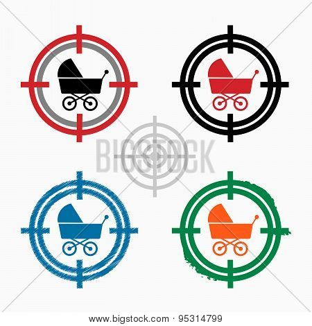 Baby Buggy Icon On Target Icons Background