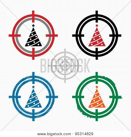Christmas Tree On Target Icons Background