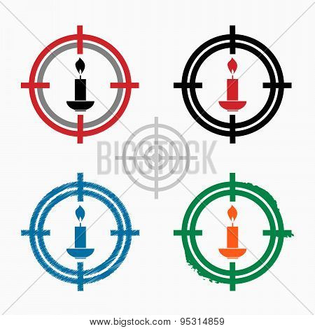 Candle Icon On Target Icons Background
