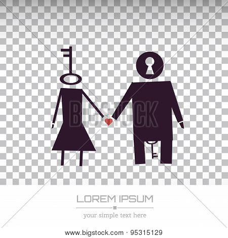 Abstract Creative concept vector unusual lovely couple silhouette of a man and a woman isolated on w