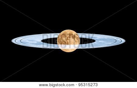 Moon with rings