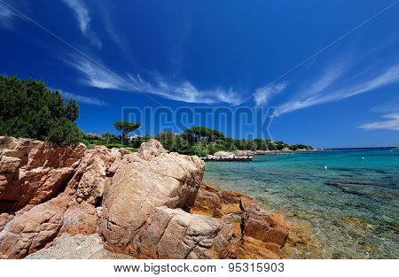 Sea in Spiaggia del Principe on Esmerald coast in North of Sardinia Italy