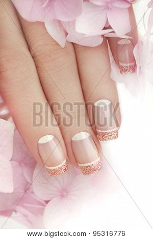 French manicure with glitter.