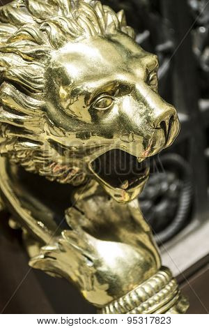 Ornamental Polished Brass Lion Door Handle