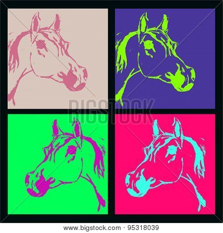 Horse, Stallion Arabian Breed (arab, Head). Set. Acid Color