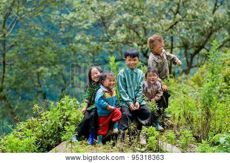 Ethnic children smile in Laocai, Vietnam