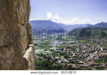 Climbing Adventure In The Italian Mountains Near Garda Lake