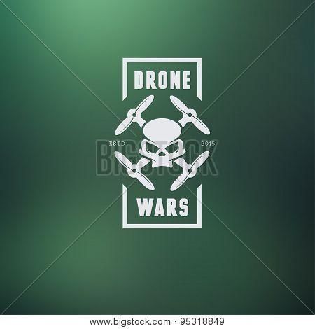 Drone quadcopter vintage style label