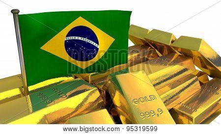 Brazilian economy concept with gold bullion
