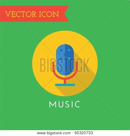 Microphone Icon Vector Icon. Sound, tools or Dj and note symbols. Stock design element.