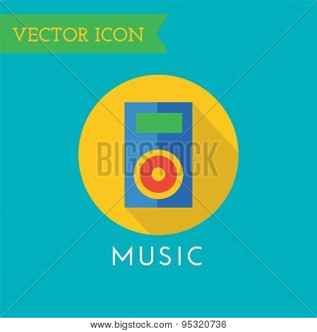 Player Icon Vector Icon. Sound, tools or Dj and note symbols. Stock design element.