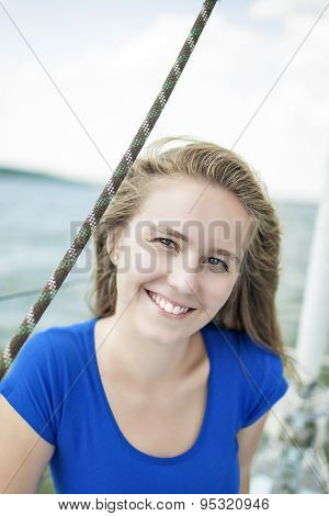 Smiling Happy Female Sailor On Board.