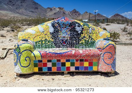 Decorative Colorful Sofa In The Ghost City Of Rhyolite In Goldwell Open Air Museum In Nevada, Usa