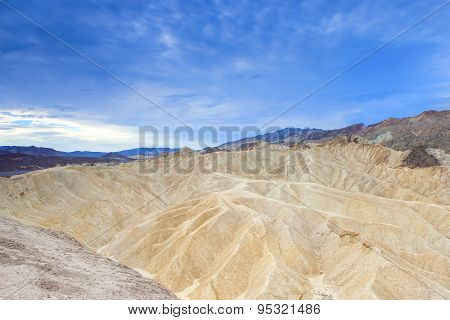 Unique Mountains Formations Of Zabriskie Point In Death Valley National Park In California, Usa.