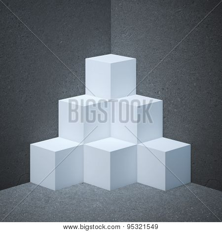 White showcase with cubes
