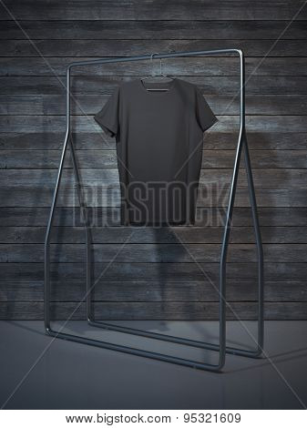 Blank black t-shirt. 3d rendering