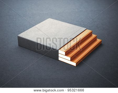 Three books with blank box cover