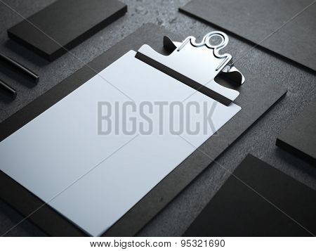 Black branding mockup with clipboard