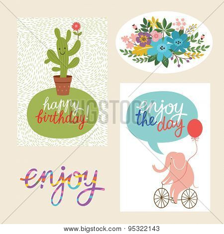 set of happy birthday design  cards and graphic elements
