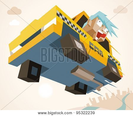 mad taxi in rush. vector illustration