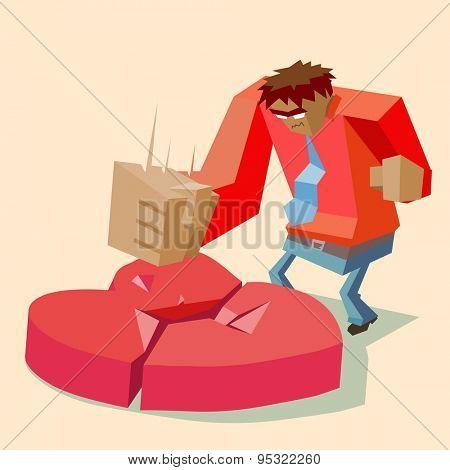 love causes broken heart. vector illustration