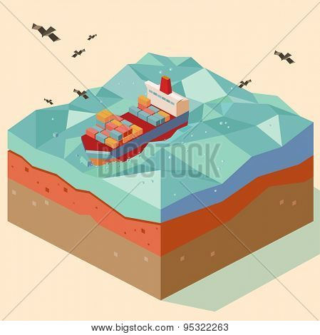 cargo ship in open sea. vector illustration