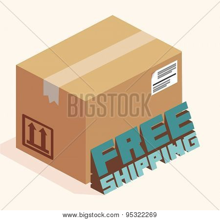 free shipping cardboard. vector illustration
