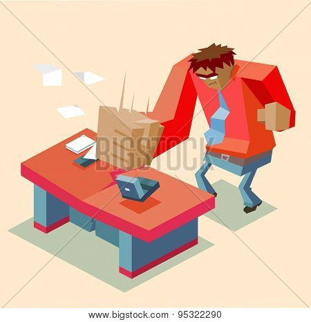 angry man at office. vector illustration