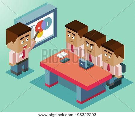presentation on whiteboard. Vector illustration