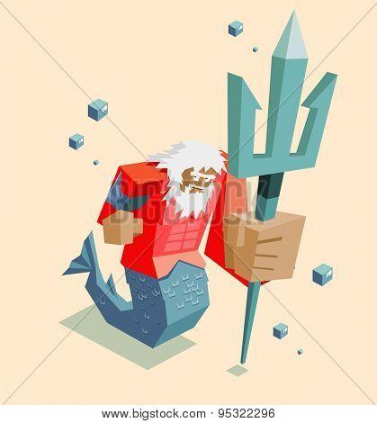 old giant poseidon. vector illustration