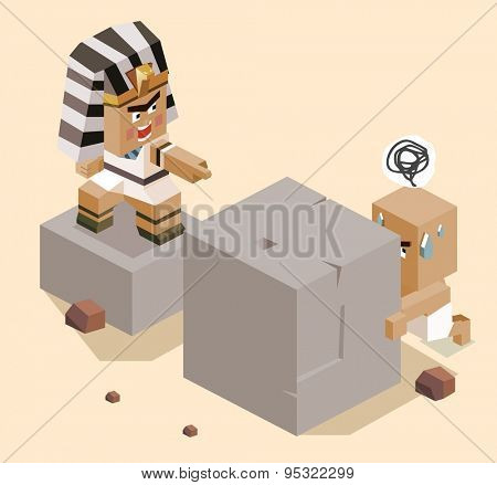 jews slavery in egypt. vector illustration