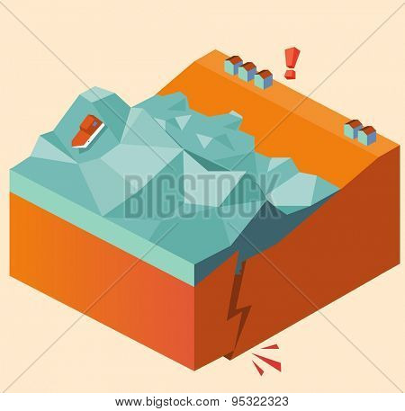 eartquake causes tsunami. vector illustration
