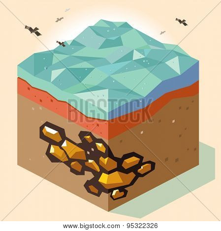 gold mine offshore. vector illustration