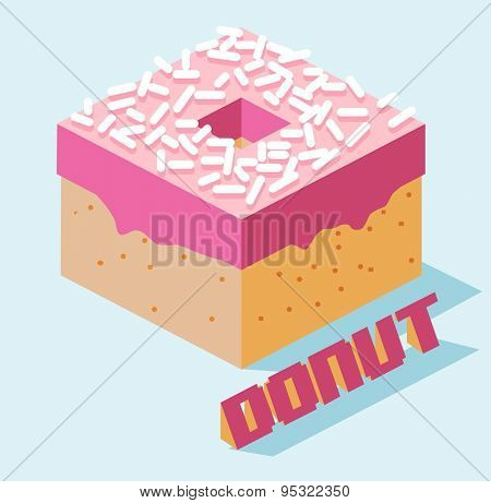 pink topped donut. vector illustration
