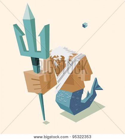 old guard poseidon. vector illustration
