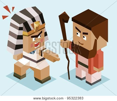 moses vs ramses. vector illustration