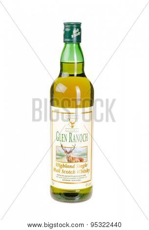 Hayward, CA - March 8, 2015: 750mL bottle of Glen Ranoch Highland Single Malt Whisky