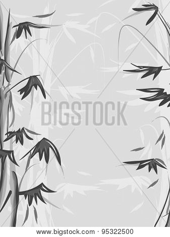 Black and White Background Illustration of a Bamboo Forest