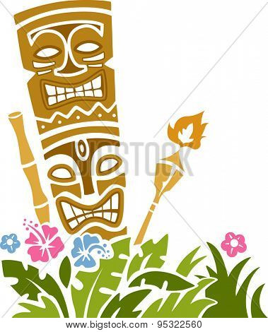 Colorful Illustration of a Tiki Statue Stencil