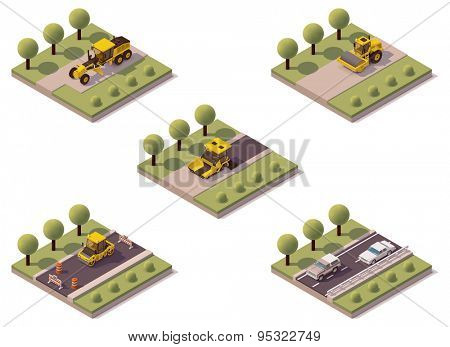 Vector isometric road surface making technology