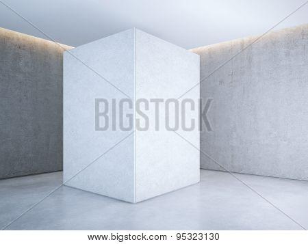 White banner in light interior. 3d rendering