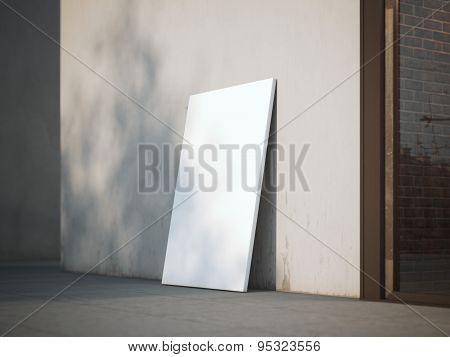 Blank poster on a street. 3d rendering