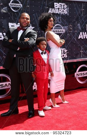 LOS ANGELES - JUN 28:  Anthony Anderson, Miles Brown, Tracee Ellis Ross at the 2015 BET Awards - Arrivals at the Microsoft Theater on June 28, 2015 in Los Angeles, CA