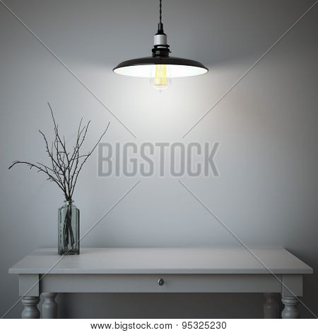 Interior with table and lamp. 3d rendering