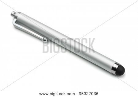Touchscreen capacitive stylus pen isolated on white