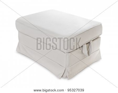 Grey soft footstool isolated on white