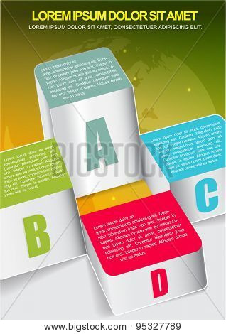 Abstract business background with four columns graph and with world map