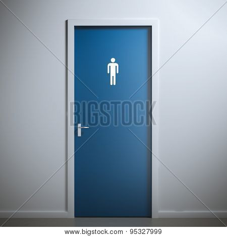 toilet door for male  gender. 3d rendering
