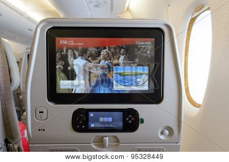 BANGKOK, THAILAND - JUNE 22, 2015: Emirates A380-800 interior. Emirates is one of two flag carriers of the United Arab Emirates along with Etihad Airways and is based in Dubai.